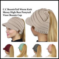 CC Label 6 Colors High Bun Ponytail Visor Beanie Hats Casque...