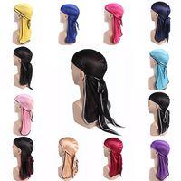 Moda Erkek Saten Ipeksi Durag Bandanna Türban Peruk Uzun Kuyruk HeadWrap Şapkalar Kafa Korsan Şapka Saç Aksesuarları kadınlar ve Erkekler Için