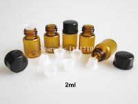 50pcs 1ml 2ml 3ml 5ml Amber Glass Bottle With Black Plastic Lid Inner,Small Brown Thin Glass Sample Vials Essential Oil Bottle