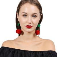 Carino stile coreano orecchini nappa capelli palla forma ciliegia ciondola gli orecchini per la donna abbigliamento accessori gioielli regali