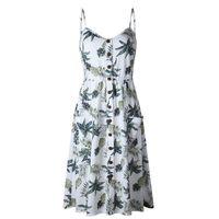 Kadın Yaz Elbise Boho Tropikal Yaprak Baskı Plaj Elbise Kolsuz Spagetti Kayışı Seksi Backless Fırfır Mini Elbise Sundress Robe