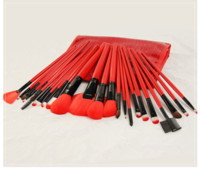 2018 Women Professional Makeup Brushes 24pcs Red 18cm High Q...