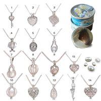 Charm colgante de perlas de plata caliente de la jaula pendiente del Locket del collar con Tiburón sirena del caballo de mar rosa perlas de ostras joyería fina para las mujeres de la joyería