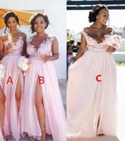 2018 Yeni Pembe Uzun Nedime Kolsuz Güney Afrika Dantel Aplike Scoop Boyun Yan Bölünmüş Şifon Nedime elbise Özel Made