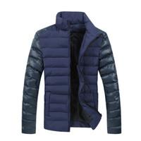 Marka Kış Erkek Ceketler Erkek Ceket Moda Deri Kol Tasarım Giyim Aşağı Pamuk Yastıklı Ceket Artı Boyutu 3XL