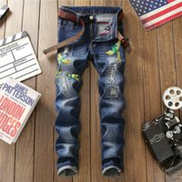 654f4c57046 Fashion Men s Jeans Slim Broken Hole Embroidery Jean Hot New Casual  Straight Little Feet Denim Pants Youth Jeans Party Nightclub Jeans