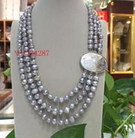 """NOUVEAU Baroque 18 """"3row 8-9mm Collier de perles multicolores rose gris blanc"""