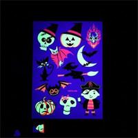 뜨거운 판매 할로윈 형광 재사용 환경 친화적 인 어린이 만화 동물 애니메이션 문신 스티커 흉터 골동품 팔 2 28ws dd
