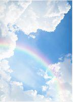 Papel de pared papel tapiz del dormitorio 3d estereoscópico 3d fantasía cielo azul nubes blancas arco iris cielo arte cenit fresco