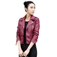 Frauen PU Lederjacke Herbst Punk Stil schwarz Khaki dünne Reißverschluss Reverskragen Motor cool Street Fashion plus Größe warme Jacken