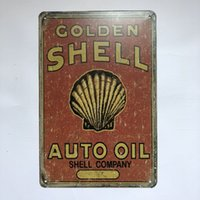 Golden Shell Auto Oil Vintage Rustic Home Decor Bar Pub Hote...