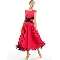 Bühne tragen Ballsaal Tanzkleider Sommer Kurzarm Tanzen Kostüm Frauen Walzer Wettbewerb Kleid Tango