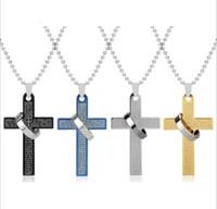 Homens colar de corrente do vintage contas de cadeia camisola homens jóias de aço inoxidável titanium jóias jesus bíblia anel pingente homens colares