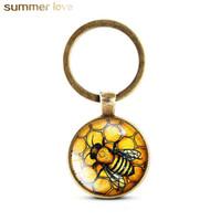 حار بيع الكريستال المفاتيح الفريد لطيف النحل حامل مفتاح اليدوية الحيوان نمط كيرينغ للنساء الفتيات شخصية مجوهرات هدية