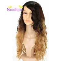 Hot & Fashion Long wavy Ombre Black Brown Curly High Tempera...