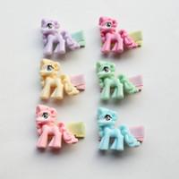 2018 Nouveau bébé Acrylique Cheval Barrettes Mignon Enfants Hairpins 12sets / lot bébé enfants Accessoires de cheveux Animaux Barrettes Taille Mini