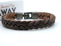 Nueva marca de cuero genuino trenzado pulseras de los hombres con estilo vintage pulsera de pulsera de cuero para niños regalos precio de fábrica Stock