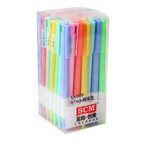 Genkky 48 adet / grup Kawaii Kırtasiye Tükenmez Kalem Görünüm Renkli Şeker Renk 0.7 mm Yaratıcı Tükenmez Kalem / Mavi VS009