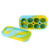 6 + 1 contenitori antiaderenti del silicone 34mL vasi dell'erba asciutta del vaso del silicone FDA Dabs contenitori della cera del silicone dei contenitori di cera con 7 scompartimenti
