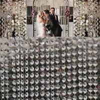 14mm Crystal Clear Acrylique suspendue Perles de perles Chaîne argenté Guirlande Rideau Lustre Party Mariage Mariage Arbre de Noël Décoration Événement fournitures