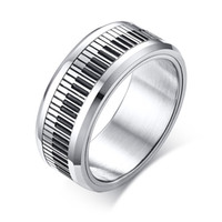 8mm Silver Wedding Piano Keyboard Spinner Rings in Stainless...