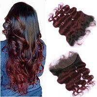 # 1B / 99J النبيذ الأحمر أومبير 13x4 يشبع أمامي إغلاق جسم موجة بيرو عنابي أومبير الإنسان الشعر الرباط المقدمات مع شعر الطفل
