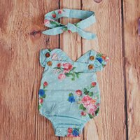 5 Color Newborn Baby Girls Summer Floral Rompers and Headban...
