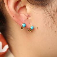 Echte 925er Sterling Silber Türkis-Hoop-Ohrring Mini Kleine Hoops Minimal empfindliches Mädchen Frauen Geschenk Vergoldet Edelstein Ohrringe Großhandel