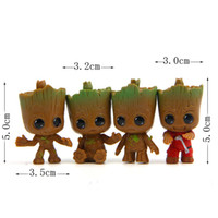 Cute Mini Groot Design Figurines Resina Guardianes de The Galaxy Micro Landscape Garden Decor 5 cm 4 unids / lote DEC448