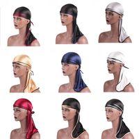 Unisex Hombres Mujeres Satén Transpirable Sombrero Bandana Silky Durag do doo du rag cola larga banda para la cabeza Turbante Musulmán Bandanas bandanas
