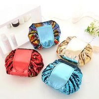 4 Colors Sequin Lazy Cosmetic Bag Makeup Pouch Portable Draw...