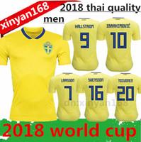 0e34fa2de top thai 18 19 new Sweden Soccer Jersey WORLD CUP 2018 2019 Zlatan  Ibrahimovic Marcus Berg BERG TOIVONEN LARSSON GRANQVIST Football Shirt