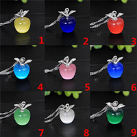 Mode 9 Farbe Katzenauge Apfel Anhänger Halskette Kristall Schlüsselbein Halskette Mode-Accessoires für Dinner-Partys