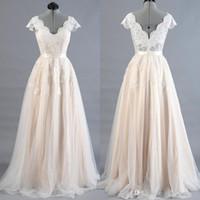 간단한 웨딩 드레스 2020 신부 가운 레이스 아플리케 A 라인 캡핑 슬리브 스윕 트레인 플러스 크기 사용자 정의 Vestido de Noiva