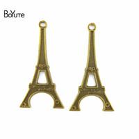 7088147e49c BoYuTe (40 Peças   lote) 60   31   2.3 MM Antique Bronze Banhado A Liga Do  Vintage Oco Torre Eiffel Encantos Jóias Pingente de Colar Pulseira Diy