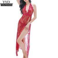 2018 Mujeres Camisola Sexy Lencería camisón de encaje cuello en V profunda ropa de dormir larga noche vestido de noche y tangas Set Gecelik S923