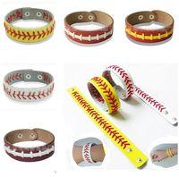 Gummi Für Armbänder Mädchen Sport Genähte Lederarmbänder Fischgräten Softball Fast Pitch Baseball Stich Manschette Unisex Männer Armband Beste Geschenke