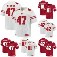 Fabrika Outlet Ucuz Erkek Wisconsin Porsukları 42 Watt 47 Biegel 81 Fumagalli Kırmızı Beyaz En Kaliteli Kolej Futbol Formalar, ücretsiz kargo