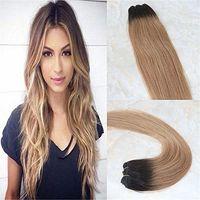 Estensioni capelli reali Ombre Bionde Balayage Colore # 2 marrone scuro Dissolvenza a # 6 e # 27 Miele Bionde Estensioni dei capelli di Remy