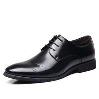 고품질 남성 드레스 비즈니스 캐주얼 신발은 낮은 도움을 넥타이 영국 청소년 결혼식 연회 신발 야생 더비 신발을 지적