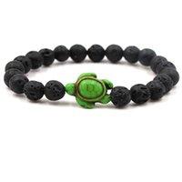 Diffuseur de parfum d'huile essentielle 8mm Black Lava Stone perles Bracelet vert (mer) tortue perles Bracelet Stretch Yoga bijoux