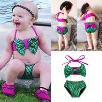 Kızlar Mermaid Mayolar çocuk Bikini Set Giysi Yay Üstleri Şort altları Mayo Mayo Kostümleri kız plaj mayo