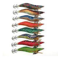 Gran venta 8pcs nuevos señuelos de pesca de camarón Jigs de calamar Camarón de madera artificial señuelos de calamar de tela noctilucentes para pulpo 10cm 11g anzuelos