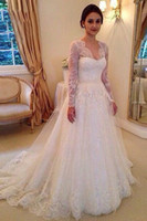 Vintage Lace Wedding Dress Scalloped V Neck Long Sleeves Bal...
