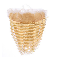 #613 блондинка ухо к уху 13x4 кружева фронтальная закрытие свободного среднего три части глубокой волны Девы бразильские светлые человеческие волосы полный кружева Frontals