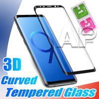 Verre trempé incurvé 3D pour Samsung Galaxy Note 10 S20 Ultra S9 Remarque 9 8 S8 PLUS PROT PLEIN SPEATE SCREE PARTAGE Aucun paquet