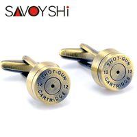 Gemelos de bronce de bala para la camisa para hombre francés bottons Cuff boda de la alta calidad Gemelos Ronda Moda SAVOYSHI joyería de la marca