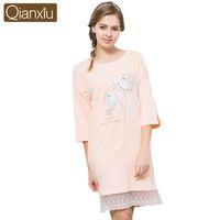 Qianxiu Fashion Women Cotton Nightgown Round Neck Floral Printed Sleepwear  Lace Hem Autumn Night Dress Comfortable Sleep Lounge 472190b29