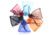 300 pçs / lote 7x9 cm 15 cores organza cordão saco de embalagem de jóias talão favor de armazenamento de jóias por atacado lotes pode personalizar