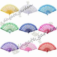 DHL 50 stks / partij Spaanse stijl Rose Flower Design Plastic Frame Kant Zijde Hand Ventilator, Chinese Craft Folding Fan